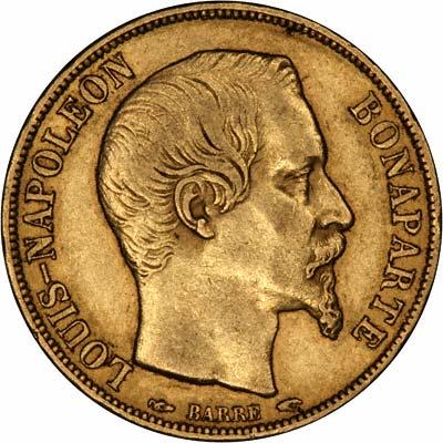 Louis Napoleon Bonaparte on a French 20 Francs of 1852